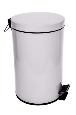 Pedal bin - Metal white 20 lit.