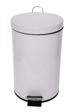 Pedal bin – Metal white 12 lit.